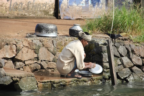 Washing dishes in the canals