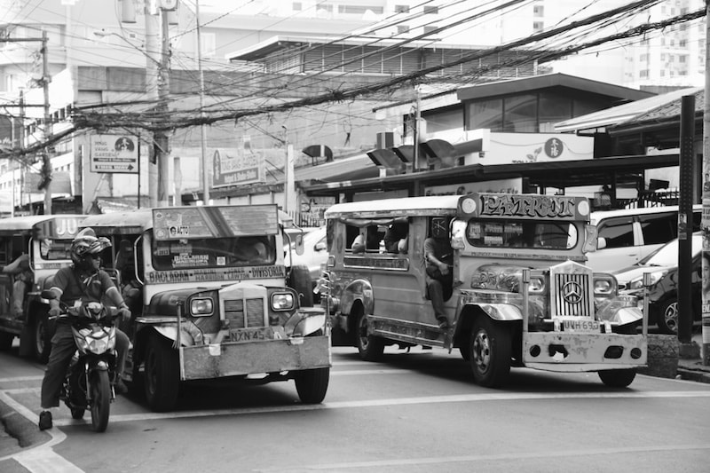 Old war jeeps turned into public transport in manila, Philippines