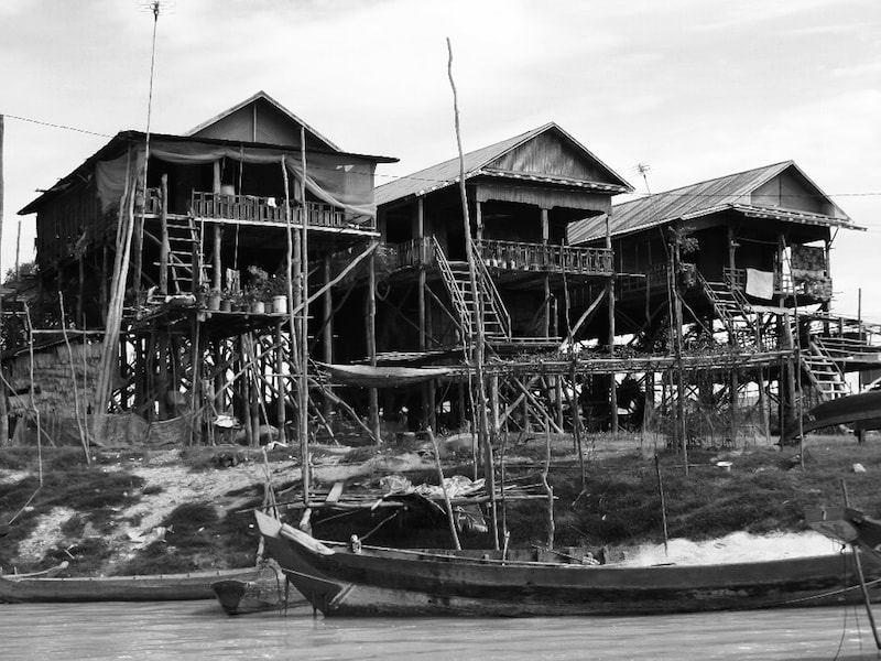 Houses on Tonle Sap Lake, Cambodia